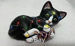 Fenton glass black tuxedo kitten cat Christmas lights adorable OOAK CC Hardman