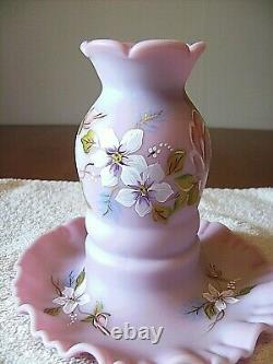 Fenton (h/p) Signed By Marilyn Wagner (1) Pc Pink Fairy Lamp