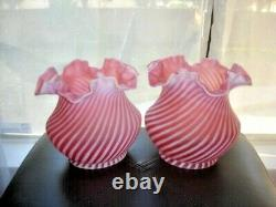 Fenton-l. G. Wright Cranberry Swirl Opalescent Lamp Shade Satin Glass (1-2) Mint