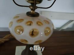 Fenton lamp with honeysuckle coin dot shade and base
