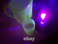 Fenton line green Hobnail Pitcher and 6 glasses vaseline Opalescent 8.50 tall