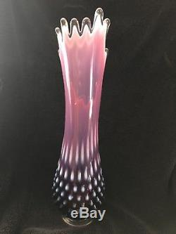 Fenton plum opalescent hobnail Vase