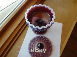 Fenton plum opalescent hobnail candy dish