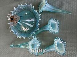 Fenton, torquoisey blue, Opalescent Glass Epergne Horn Centerpiece