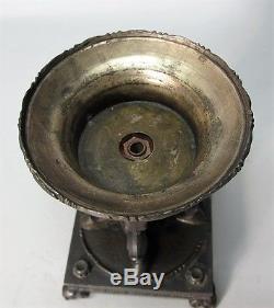 Fine OSCAR BACH Bronze & BLUE AURENE Art Deco Glass Centerpiece Bowl c. 1925