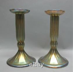 Fine Pair of Signed TIFFANY FAVRILE Art Glass Candle Holders c. 1910 antique