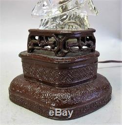 Fine & Rare Vintage STEUBEN CHINESE BUDDHA Art Deco Glass Lamp c. 1950