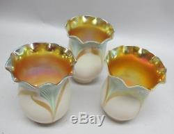 Fine Set of 6 SIGNED STEUBEN Pulled-Feather Art Glass Shades c. 1915 antique
