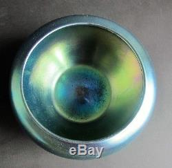 Fine Signed STEUBEN BLUE AURENE Art Glass Bowl c. 1915 antique American vase