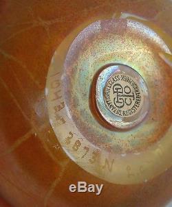 Fine Tiffany Studios Favrile Glass Hearts & Vines Vase