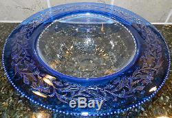 Frederick Carder Signed Steuben Bowl Blue Clear Cameo Crystal Cut Art Glass 10