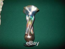 Frederick Carder Steuben Signed Gold / Blue Aurene 135 Twist Flare Top Vase