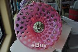 GORGEOUS Fenton Cranberry Opalescent Coin Dot Glass Shade for a 10 Fitter