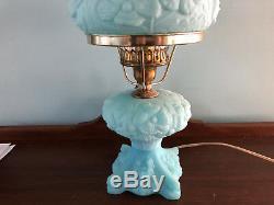Gorgeous FENTON ART GLASS LAMP Blue Satin with Poppy Poppies FLORAL