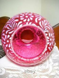Gorgeous Fenton Daisy and Fern Lamp Cranberry Opalescent with Brass Base 27 Tall