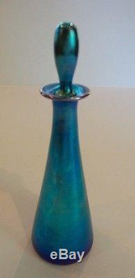 Gorgeous Steuben Carder Era Blue Aurene Art Glass 7 Perfume / Cologne Bottle