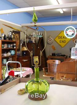 Green Blenko Blown Glass Lamp Mid Century Modern 4-1/2 Tall Glass Finial