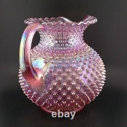 HTF Fenton Iridescent Carnival Pink Glass Hobnail Round Ball Crimped Jug Pitcher
