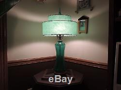 HUGE 32 BLENKO Green GLASS LAMP finial is 5