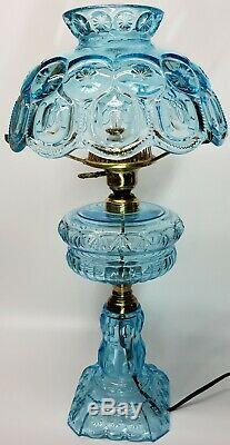HUGE Colonial/Turquoise/Light Blue Glass/LG Wright/Fenton Moon &Stars Table Lamp