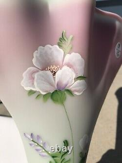 HUGE Fenton Satin Lotus Mist Burmese Glass Fan Vase. Hand Painted and Signed Wow