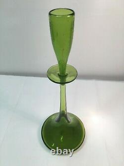 Hand Signed Wayne Husted Olive Green Shot Glass Blenko Decanter. MCM