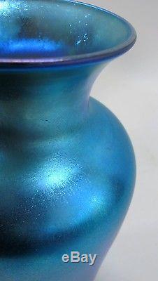 Huge 12 Signed QUEZAL Iridescent Blue Vase c. 1920 antique American art glass