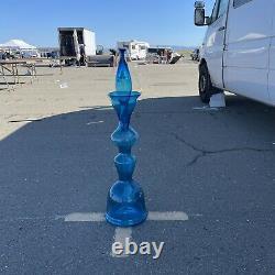 Huge Blenko Glass Turquoise Blue Chess Decanter Bottle 5929L Wayne Husted