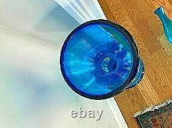 Huge Marked Blenko Glass Turquoise Blue Chess Decanter Bottle 5929L Wayne Husted