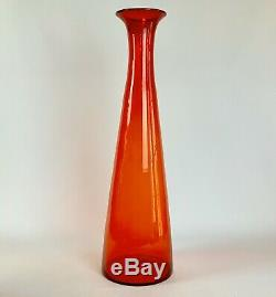 Huge Mid Century Vintage Blenko Wayne Husted Art Glass Vase