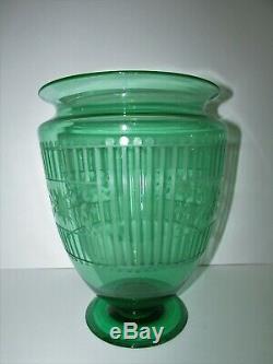 Huge Steuben Art Glass Vase Shape #938 Pamona Green Uranium Vaseline 559