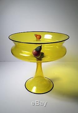 Important Frederick Carder early Steuben glass LARGE Compote