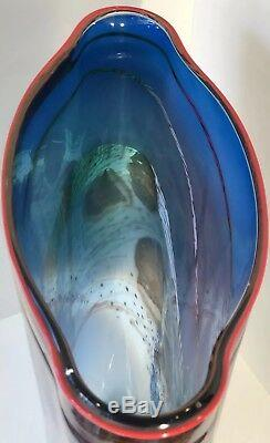 Impressive James Nowak Underwater Studio Art Glass Vase Signed 1988