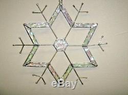 J Devlin Glass Art Stained Snowflake Hex-Center Ornament/Suncatcher NEW IN BOX