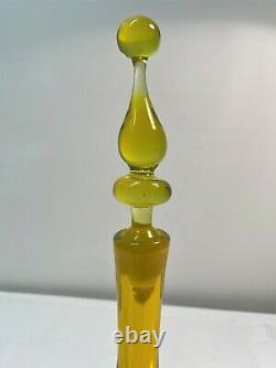 Joel Philip Myers Blenko Yellow Decanter, Lemon, Mid Century Modern Art Glass