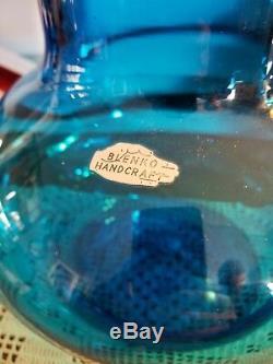 LARGE Blenko Glass #7328 Turquoise Blue Decanter Jar & Lid John Nickerson VTG 73
