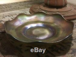 LCT Tiffany Studios Favrile Ruffled Glass Plate PURPLE/GOLD Art Nouveau Dish
