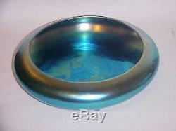 Lg Aurene Steuben Art Glass Footed Center Piece Bowl Blue Iridescent # 2586