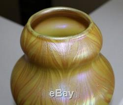 L. C. TIFFANY CORONA FAVRILE PULLED FEATHER VASE c. 1895