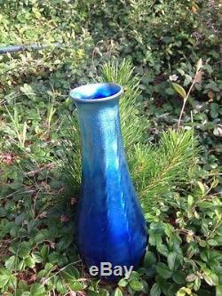 L C TIFFANY Favrile Glass Vase Signed Large Blue Antique Art Glass