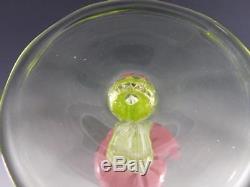 L. C. T. Tiffany Favrile Art Glass Pastel Green & Pink Stemmed Wine Goblet