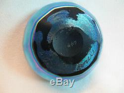 L. C. T Tiffany Favrile Iridescent Aurene Blue Salt Cellar Ruffled Scalloped Edge