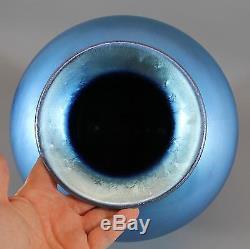 Large Antique Hand Blown, Blue Aurene Steuben Art Glass Vase/ Lamp, NR