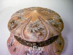 Large Antique Victorian C. F. Monroe Kelva Wave Crest Floral Enameled Dresser Box