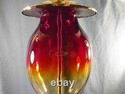 Large Blenko Amberina Glass Electric Table Lamp 20 1/2 Tall