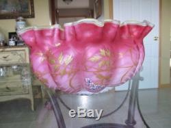 Large Cranberry Mother of Pearl MOP Glass Enamel Brides Basket Bowl Yellow Cased