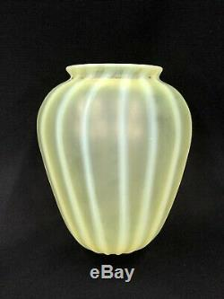 Large Early Tiffany Studios Pastel Favrile Opal Striped Art Glass Lamp Shade NR
