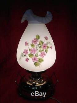 Large Fenton Art Glass, Violets in the Snow, Painted, Mariners Lamp Light