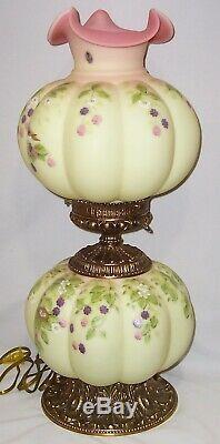 Large Fenton Burmese Glass Song Bird Lamp