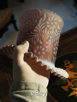 Large Fenton DAISY FERN TOP HAT Amethyst Purple SATIN Glass Vase RARE